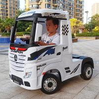 奔驰卡车头儿童电动汽车四轮遥控宝宝货车小孩半挂车玩具车可坐人
