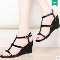 夏季女鞋古奇天伦新款女士罗马鞋一字扣绑带高跟坡跟夏天凉鞋8621