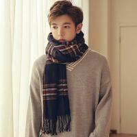 冬季男女士韩版长款加厚英伦格子围巾毛线围脖情侣学生韩国百搭潮
