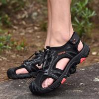 包头凉鞋男镂空防滑透气皮鞋男士牛皮爸爸鞋洞洞鞋运动休闲鞋