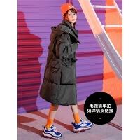 七格格鹅绒派克服2018新款女士韩版加厚冬季宽松时尚羽绒服中长款