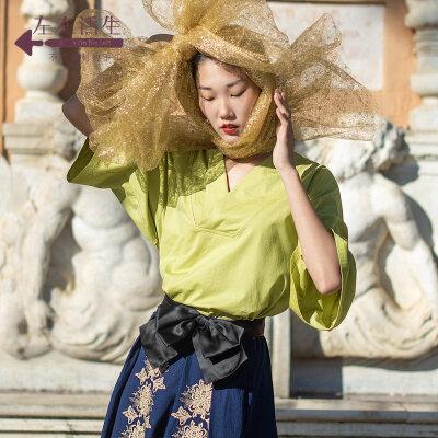 生活在左2019春夏季新品时装周草芥绿纯棉长袖t恤文艺休闲上衣女