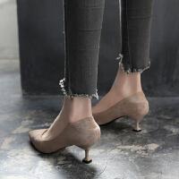 尖头高跟鞋女春2019新款浅口单鞋女中跟韩版猫跟鞋百搭细跟5cm黑夏季百搭鞋