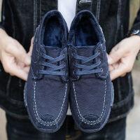 秋冬布鞋男老北京布鞋透气休闲鞋牛仔布帆布鞋加绒加厚保暖工作鞋
