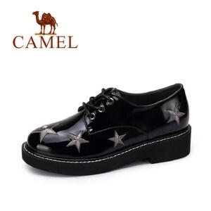 camel 骆驼女鞋  秋季新款 个性刺绣星饰系带光面英伦系带浅口单鞋潮