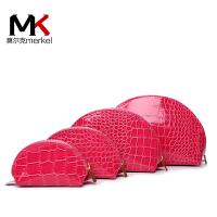 莫尔克(MERKEL)新款女手拿包零钱包欧美时尚鳄鱼纹拉链手包化妆包钱包