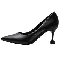 高跟鞋女细跟2019春季新款尖头性感百搭小清新少女白色猫跟单鞋夏季百搭鞋