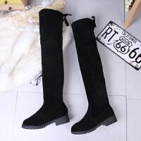 2018秋冬新款欧美粗跟34显瘦过膝长靴女绒面低跟长筒大码靴子 黑色 加绒