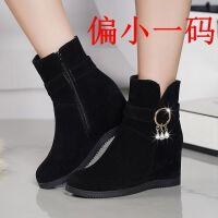 加绒冬季雪地靴女款学生韩版加厚短靴女春秋平底棉靴内增高女鞋子