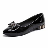 大东同款同款新款女鞋秋季尖头浅口低跟鞋粗跟单鞋女舒适四季工作小皮鞋