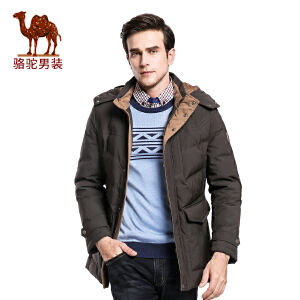 骆驼男装外套 冬季新款可脱卸帽纯色男士休闲加厚羽绒服男