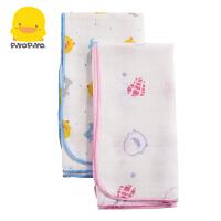 黄色小鸭 婴幼儿纯棉纱布手帕 口水巾 两条装/三条装