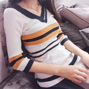 谜秀针织衫女套头2017秋装新款韩版修身薄款条纹毛衣打底衫女装潮