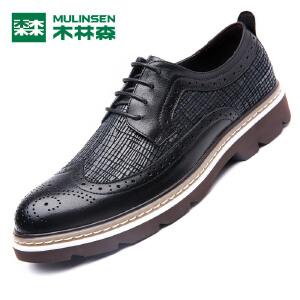木林森男鞋 新品男士布洛克皮鞋 低帮系带时尚男皮鞋05367327