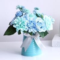 玫瑰绣球仿真干花假花套装花艺餐桌客厅家居饰品绢花摆设小盆花栽