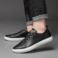 品牌夏季欧洲站青年系带板鞋真皮百搭休闲鞋男士皮鞋平底潮流黑白男鞋