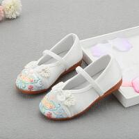 新款儿童绣花鞋民族风汉服鞋女童布鞋复古学生表演舞蹈鞋潮 白色 22A