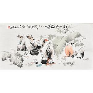 当代画家梁煜50 X 99CM人物画gr01436