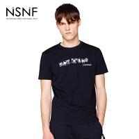NSNF纯棉字母组合印花黑色圆领短袖t恤男 男装2017新款 修身圆领针织短袖