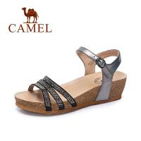 【每满200减100】camel骆驼女鞋  春夏新款 时尚水钻防水台坡跟一字扣百搭凉鞋