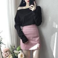 高腰开叉半身裙秋冬女2018新款韩版百搭鹿皮绒黑色包臀短裙一步裙 XX