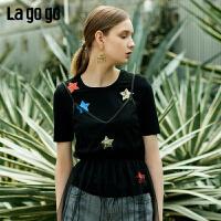 Lagogo/拉谷谷2019夏季新款撞色亮片短袖圆领T恤女IATT315A02