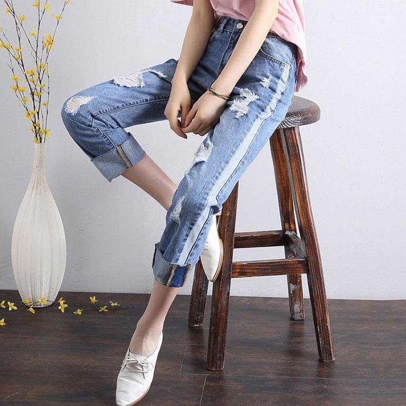 拼接卷边宽松阔腿显瘦哈伦九分裤2017新款夏季直筒牛仔裤女
