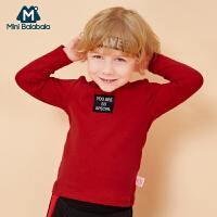 迷你巴拉巴拉儿童长袖T恤秋冬季小童弹力秋衣上衣红色男童打底衫