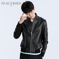 太平鸟男装 春装新品青年棒球领绵羊皮时尚修身真皮皮衣B1BD71108