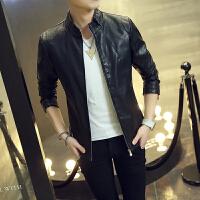冬装男皮衣夹克韩版修身青年机车PU皮夹克加绒加厚立领男版外套