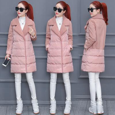 棉衣女中长款2018新款韩版羊羔毛冬季chic羽绒流行外套ins潮 粉红色 S