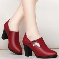 温州气质新款深口中跟单鞋韩版百搭鞋圆头粗跟秋季时尚高跟鞋女鞋