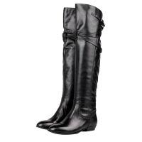 欧美秋冬长靴骑士靴平底高筒靴平跟女靴过膝全皮靴加绒女冬靴