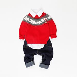 男女童通用冬季毛衣保暖厚款插肩袖小狗狗图案针织衫