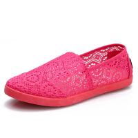 春夏款套脚小白鞋休闲平底镂空网豆豆学生板鞋女式老北京凉鞋布鞋 35 标准码