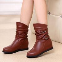 秋冬新款平底内增高加绒中筒棉靴防滑短靴女韩版百搭妈妈单靴子