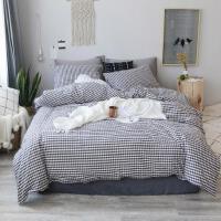 无印水洗棉四件套全棉民宿酒店良品格子床上用品纯棉被套床单床笠