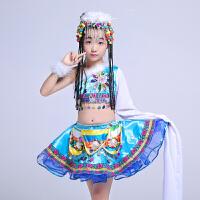 儿童藏族演出服扎西德勒表演服蒙古舞台服装单肩水袖女童