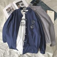秋装新款韩版宽松长袖衬衣男士BF风纯色休闲立领衬衣男学生潮上衣 黑色 长袖款