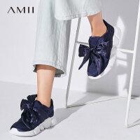 Amii[极简主义]2017新品缎带蝴蝶结撞色鞋底运动休闲鞋11724603