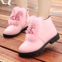 女童短靴加绒马丁靴冬鞋2017秋季新款儿童靴子大童公主鞋雪地棉靴