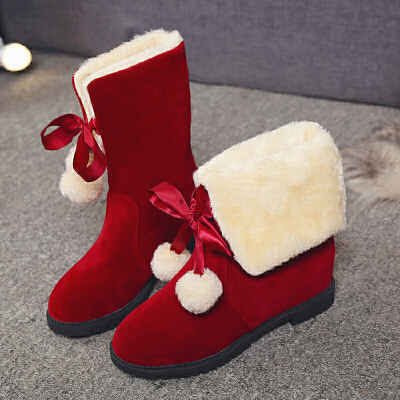 内增高雪地靴女冬季学生韩版可爱加绒加厚保暖中筒棉靴女平底短靴