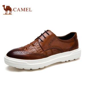 camel骆驼男鞋 春季英伦风布洛克 雕花时尚休闲男士皮鞋
