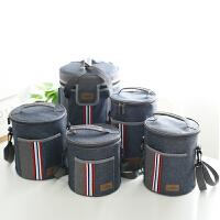 圆形保温桶饭盒袋子套三层加厚铝箔早餐带饭兜学生装碗便当手提包