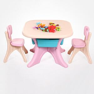 儿童学习桌 宝宝学习桌椅套装儿童书桌写字画画课桌小孩幼儿园桌子组合塑料桌子满额减限时抢礼品卡创意家具
