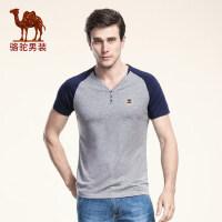 骆驼男装 新款夏季V领绣标强弹休闲上衣短袖修身T恤衫 男