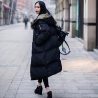 反季棉衣女中长款2018新款韩版棉袄bf宽松ins过膝学生面包服 黑色内衬军绿