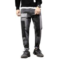秋季牛仔裤男宽松小脚日系黑色哈伦裤街头嘻哈破洞补丁潮流长裤子