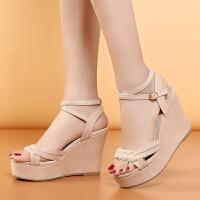 专柜款牛津底坡跟凉鞋女学生韩版超高跟露趾厚底女鞋F09