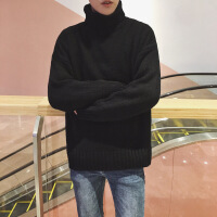 高领毛衣男士韩版潮流情侣原宿风宽松针织衫外套男秋冬装2018新款 黑色 M